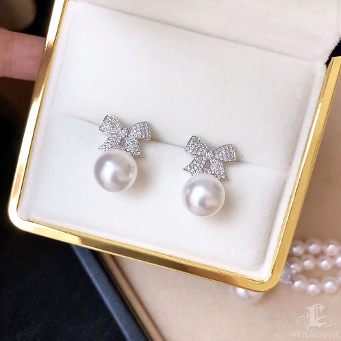 0.42 ct Diamond AAAA 9.5-10 mm Akoya Pearl Earrings 18k Gold