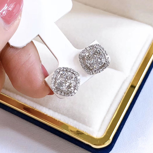 1.20 ct H/SI Micro-Pave Natural Diamond Stud Earrings 18k Gold