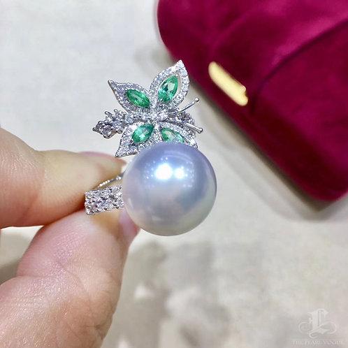 0.80ct Diamond, AAAA 11-12 mm South Sea Pearl Luxury Ring 18k Gold w/ Emerald