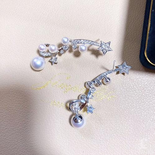 0.65 ct Diamond AAAA 3-8 mm Akoya Pearl Earrings 18k Gold
