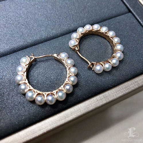 AAAA 4-4.5 mm Baby Akoya Pearl Hoop Earrings 18k Gold
