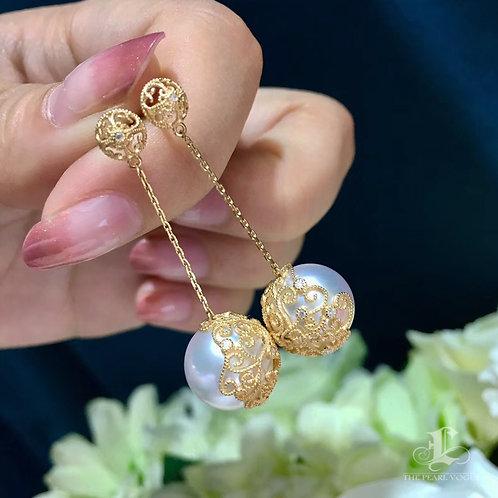 AAA 12-13mm White South Sea Pearl Earrings, 18k Gold