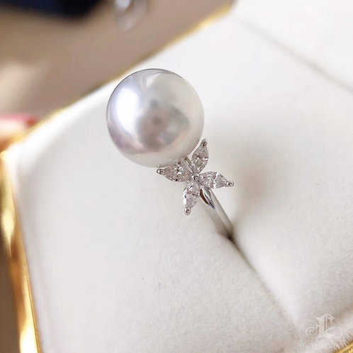 0.38 ct Diamond AAAA 11-12 mm South Sea Pearl Luxury Ring Pendant 18k Go