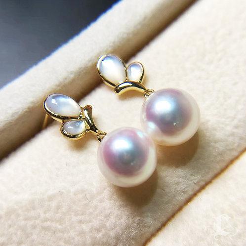 AAAA 8-8.5mm Akoya Pearl Stud Earrings, 18k Gold w/ Pearl Mother