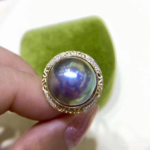 AAAA 14-15 mm Mabe Pearl Ring, 18k Gold w/ Diamond