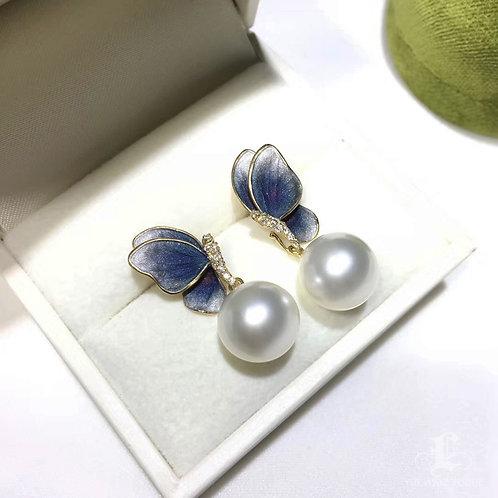 AAAA 11-12 mm South Sea Pearl Butterfly Earrings, 18k Gold w/ Diamond