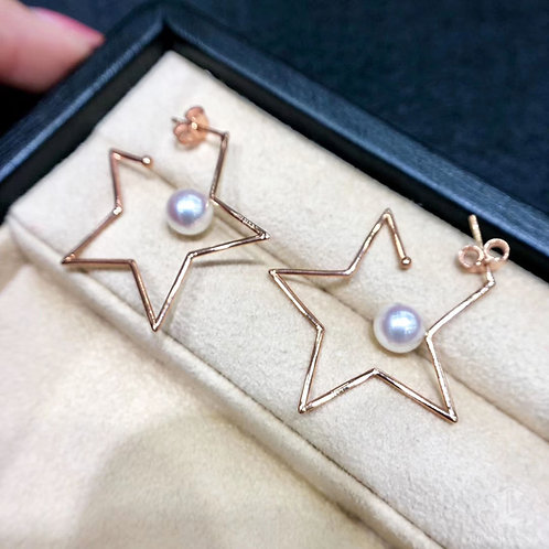 AAAA 7-7.5 mm Akoya Pearl Fashion Earrings 18k Gold