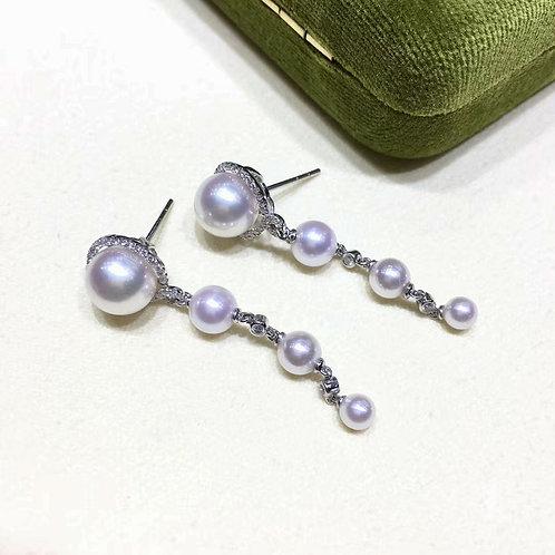 0.30ct Diamond, AAAA 4-8.5 mm Akoya Pearl Star Earrings, 18k Gold