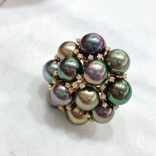 0.34ct Diamond AAAA 8-9 mm Multi-color Tahitian Pearl Ring 18k Gold