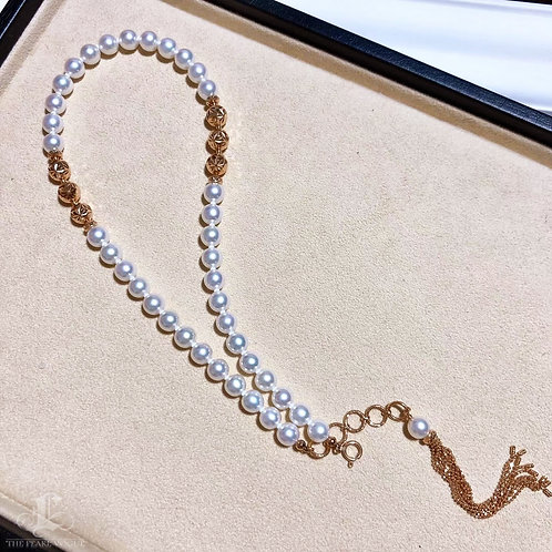 45cm, AAAA 7.5-8 mm Akoya Pearl Novel Strand Necklace 18k Rose Gold
