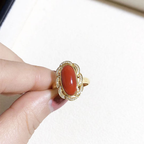 14.7 x 7.7 mm Italian Natural Red Coral Classic Ring 18k Gold w/ Diamond