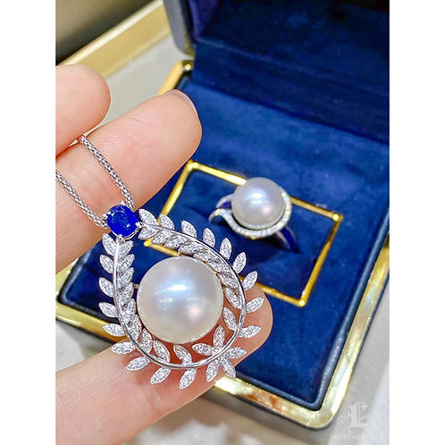 0.50 ct Sapphire, AAAA 13-14 mm South Sea Pearl Pendant 18k Gold w/ Diamond