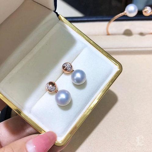 0.185ct Diamond AAAA 10-11 mm South Sea Pearl Earrings 18k Rose Gold