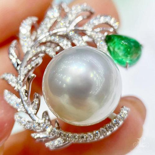 1.55 ct Emerald, AAAA 14-15 mm South Sea Pearl Pendant 18k Gold w/ Diamond
