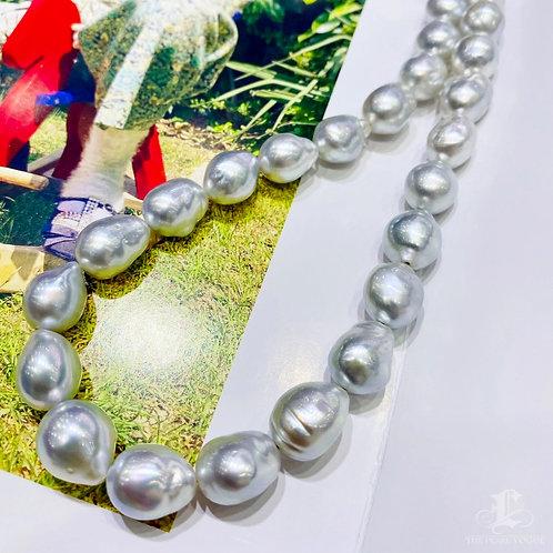 43 cm 10-12 mm Silver Baroque South Sea Pearl Strand Necklace