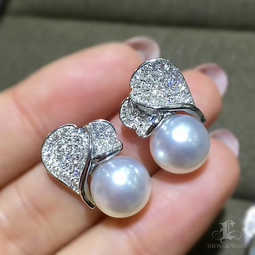 0.88ct Diamond AAAA 10-11mm White South Sea Pearl Earrings, 18k Gold