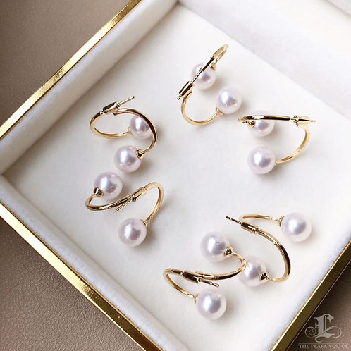 AAAA 8-8.5 mm Akoya Pearl Earring Jacket, 18k Gold