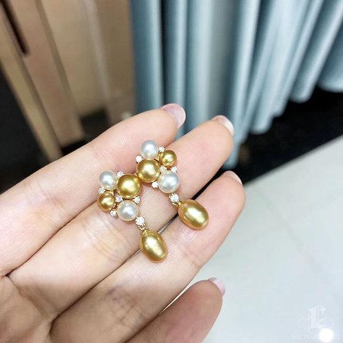 0.23ct Diamond KESHI 4-6 mm Wild South Sea Pearl Earrings 18k Gold