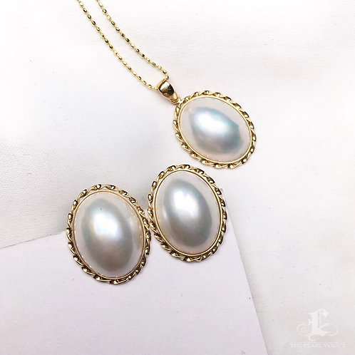 12 x 16 mm Oval Mabe Pearl Pendant 18k Gold - AAA
