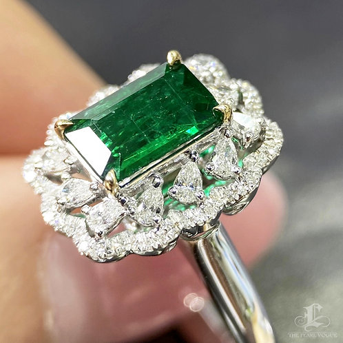 1.40 ct Natural Green Emerald Ring Pendant 18k Gold w/ 0.60ct F/Vs Diamond