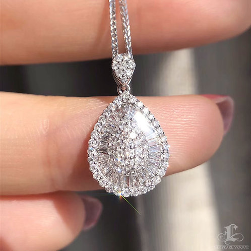 0.50 ct FG/SI Micro-Pave Natural Diamond Pendant Necklace 18k Gold