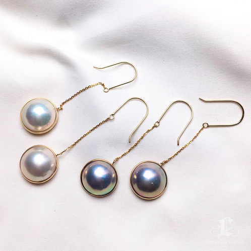 14mm mabe pearl chandelier earring 18k gold aaa aloadofball Image collections