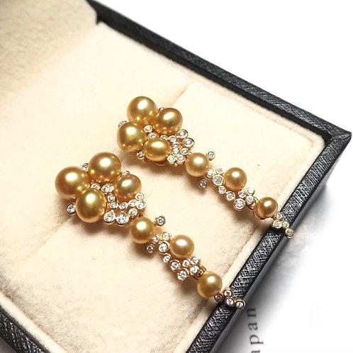 0.40ct Diamond KESHI 3-6mm Wild Golden South Sea Pearl Earrings 18k Gold
