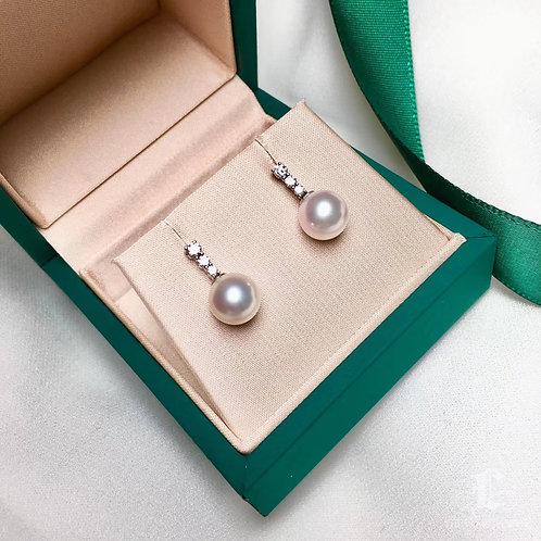 0.20ct Diamond, AAAA 8-8.5 mm Akoya Pearl Earrings, 18k Gold