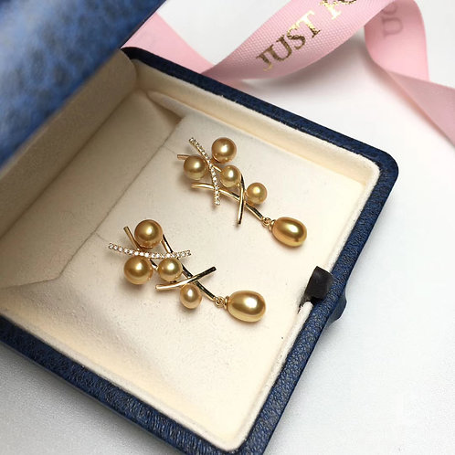 0.18ct Diamond KESHI 4-6 mm Wild South Sea Pearl Earrings 18k Gold