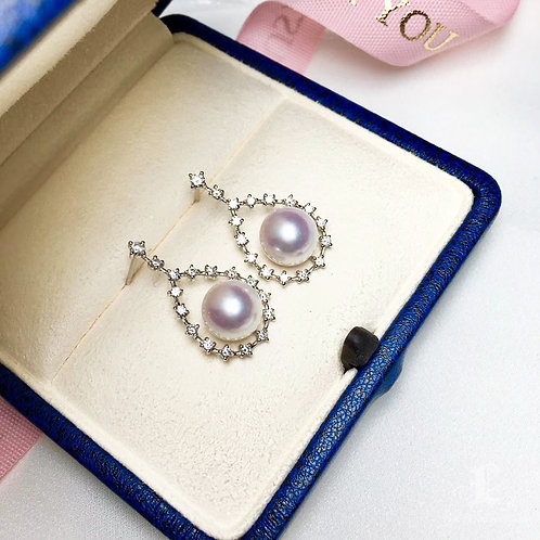 0.45ct Diamond, AAAA 9-9.5 mm Akoya Pearl Classic Earrings, 18k Gold