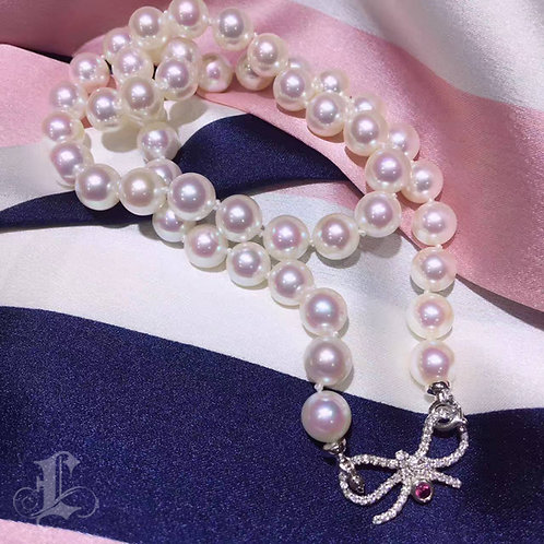 48cm, AAAA 8-8.5mm Akoya Pearl Necklace, 18k Gold w/ Diamond, Wear Many Ways