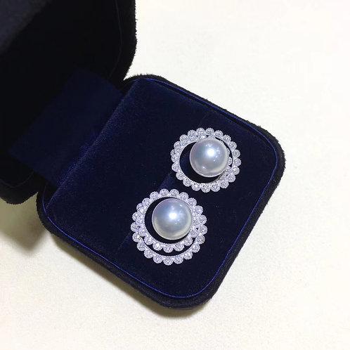 0.55ct Diamond AAAA 10-11mm White South Sea Pearl Earrings 18k White Gold