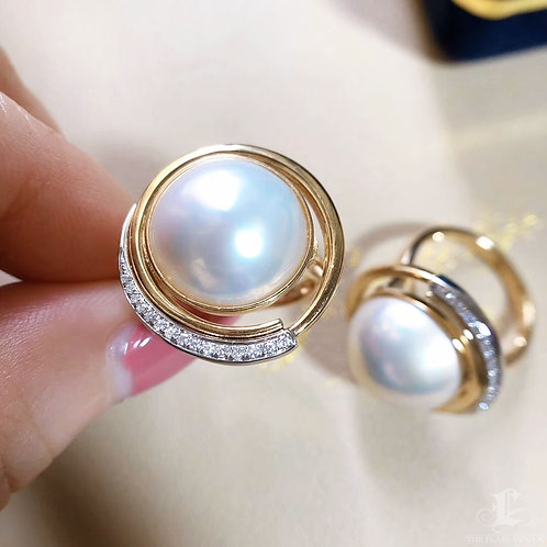 0.23 ct Diamond AAAA 14-15 mm Mabe Pearl Ring 18k Gold