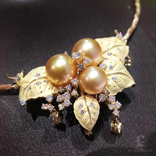 CUSTOMIZE | AAAA 10-13mm South Sea Pearl Pendant Brooch, 18k Gold w/ Diamond