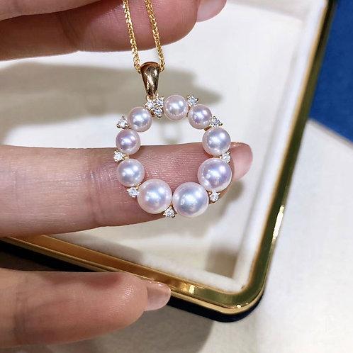 0.22ct Diamond, AAAA 3.5-7 mm Akoya Pearl Pendant 18k Gold Diamond
