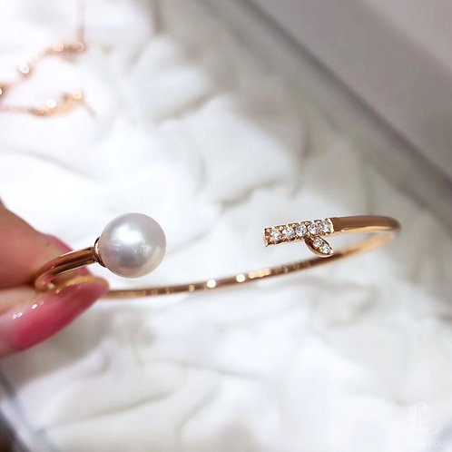 18k Rose Gold, AAAA 8-8.5 mm Akoya Pearl Adjustable Bracelet w/ Diamond