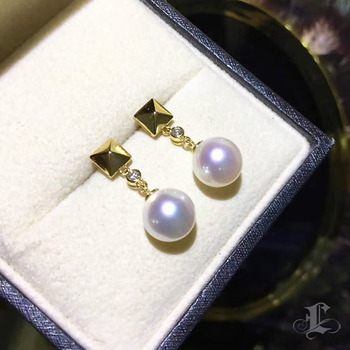 AAAA 8-8.5mm Akoya Pearl Earrings, 18k Gold w/ Diamond