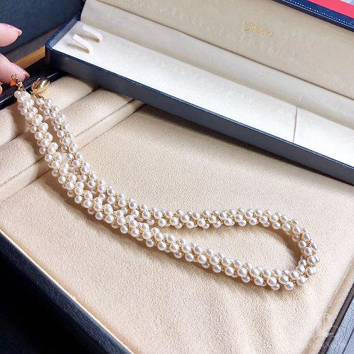 44cm, ORIGINAL TASAKI | 4-4.5 mm Akoya Pearl Multi-Strand Necklace 18k Gold