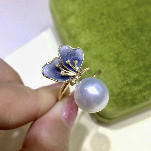 AAAA 11-12 mm White South Sea Pearl Butterfly Ring, 18k Gold w/ Diamond