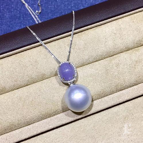 0.12ct Diamond AAAA 13-14mm White South Sea Pearl Pendant, 18k Gold w/ Jadeite