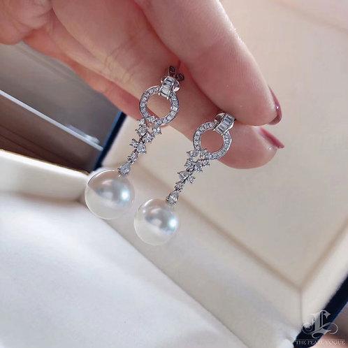 0.85 ct Diamond, AAA 11-12 mm South Sea Pearl Earrings 18k Gold