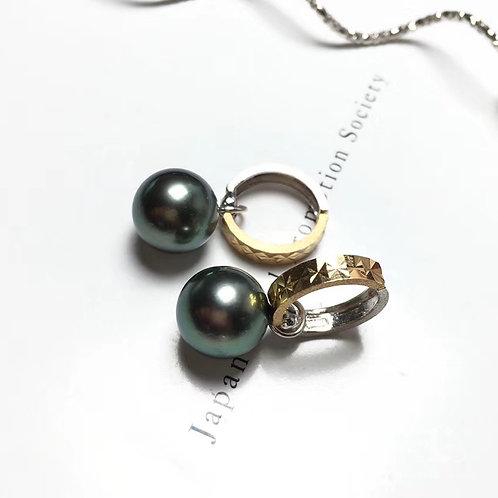 AAAA 9.5-10 mm Tahitian Pearl Earrings w/ 18k Gold