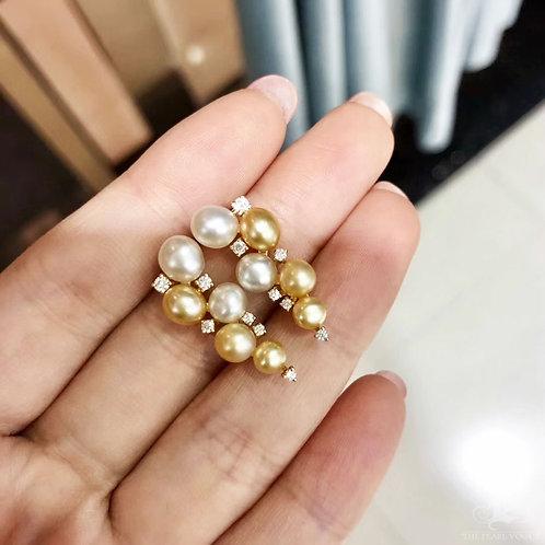 0.32ct Diamond KESHI 3-6 mm Wild South Sea Pearl Earrings 18k Gold