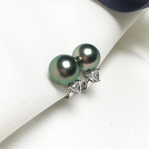 0.30ct Diamond AAAA 9-10mm Tahitian Pearl Classic Earrings, 18k White Gold