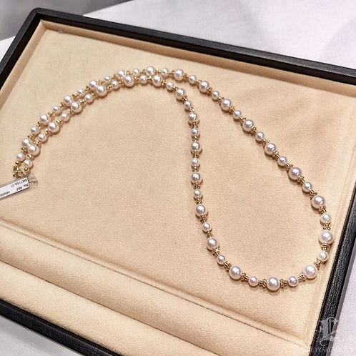 66cm, AAAA 6-8.5 mm Akoya Pearl Tin Cup Necklace 18k Gold