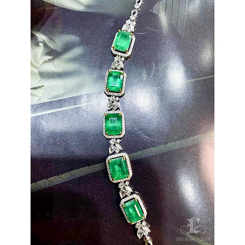 8.38 ct Natural Emerald Royal Bracelet Chain 18k Gold w/ Diamond