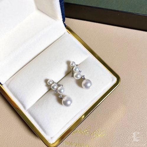 0.22 ct Diamond, AAAA 3.5-7.5 mm Akoya Pearl Earrings 18k Gold