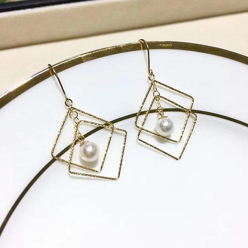 AAA 5.5-6 mm Baby Akoya Pearl Earrings, 18k Gold