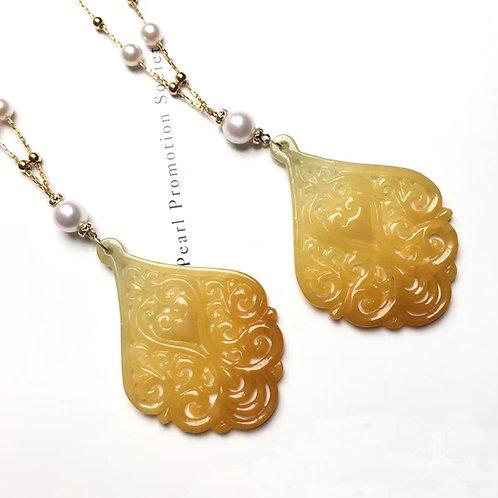 Akoya Pearl and Natural Burmese Yellow Jadeite A Pendant 18k Gold