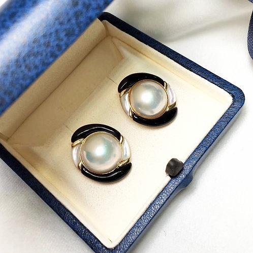 13-14 mm Mabe Pearl Earrings 18k Gold w/ Agate - AAAA